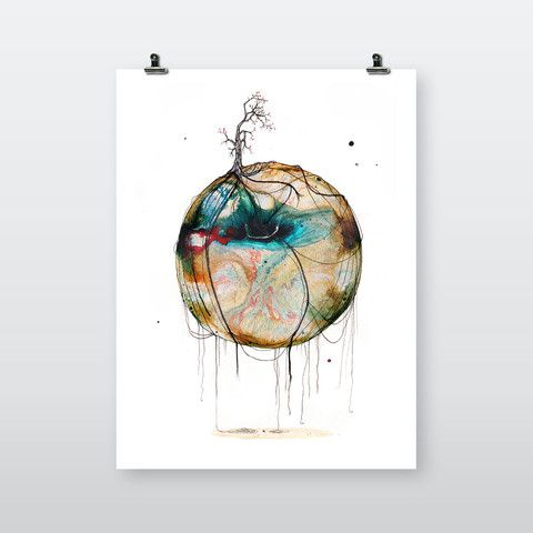 Ny Verden #40 (New World #40) by Joanna Jensen | available on artworkheroes.com as #highquality #artprint you are who you art! #charity #artwork #canvas #poster #artdeco #homeinterior #design #graphic #Scandinavia #earth #circle