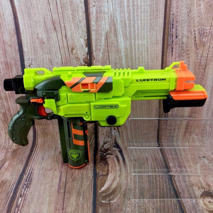 Nerf Gun Lumitron Vortex & 8 Discs Lights Up Blue In Cartridge 100% Working toys