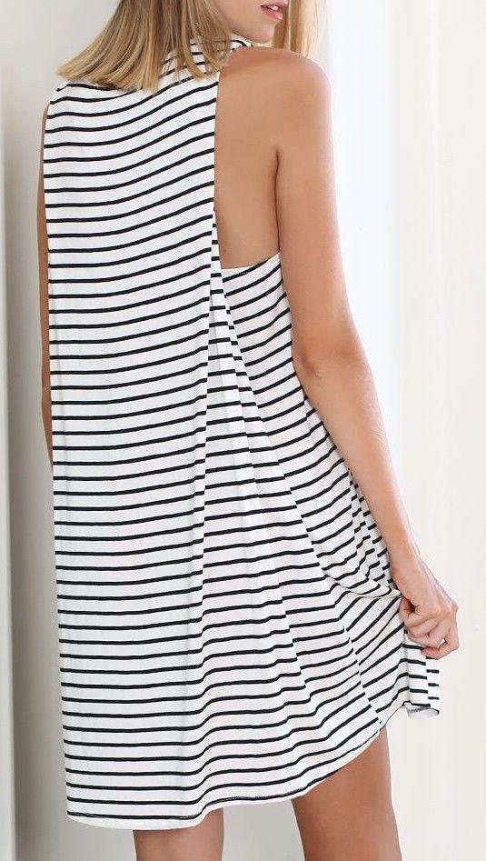 White/Black Sleeveless Striped Dress - So adorable