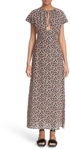 Tomas Maier Aster Print Silk Maxi Dress