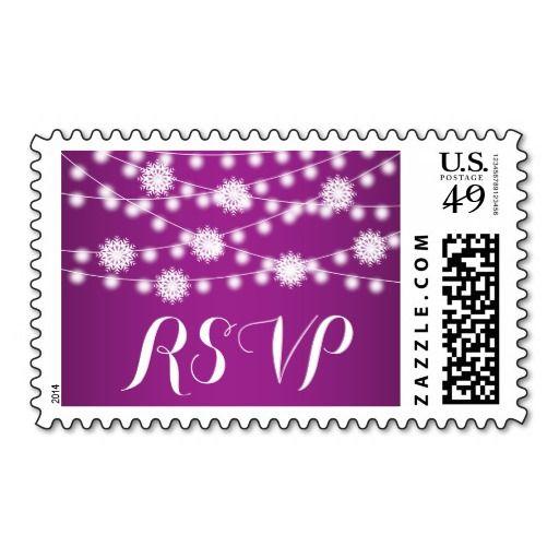 String lights and snowflakes purple wedding RSVP Postage Stamp. #stringoflights #snowflakes #winterwedding #purple #RSVP #postagestamp