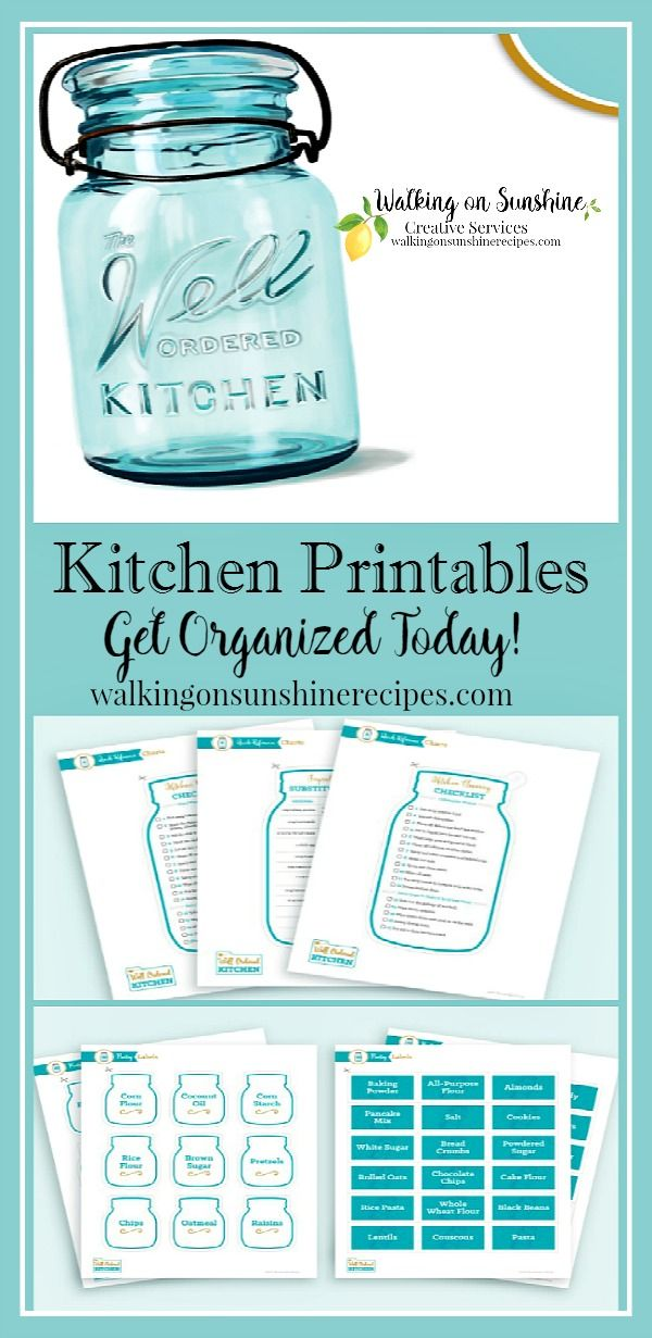 Lovely Get organized with Kitchen Printables using The Well Ordered Kitchen Planner featured on Walking on Sunshine