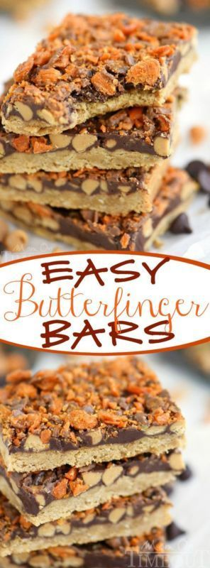Easy Butterfinger Bars Chocolate flavors and Dessert recipes