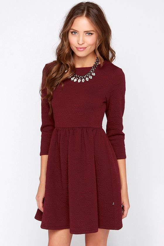 Best 25  Maroon long sleeve dress ideas on Pinterest | Maroon ...