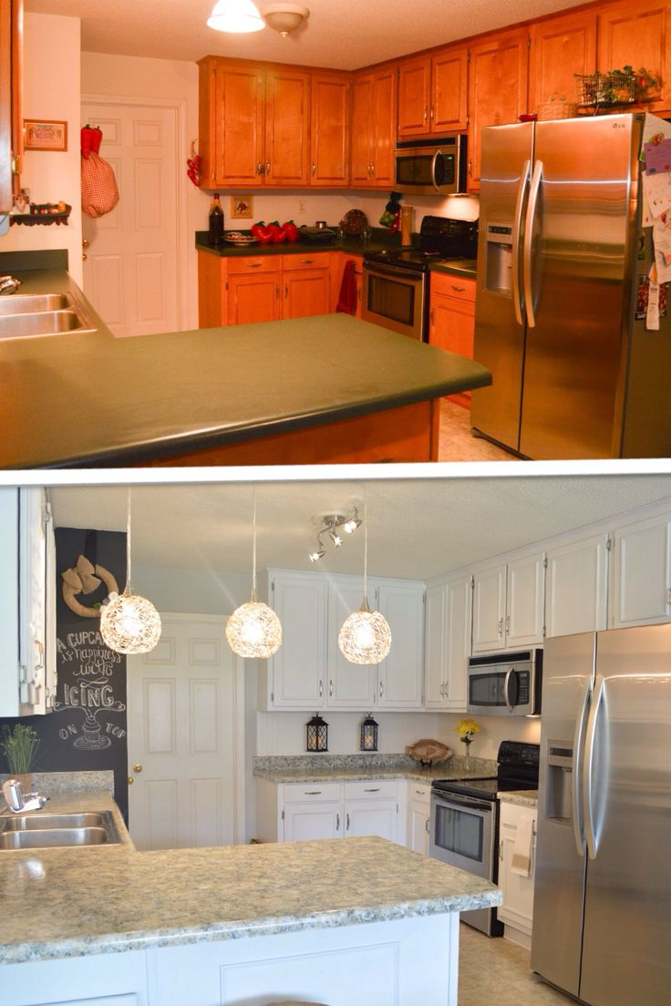 Our Kitchen makeover for less than $300 using Giani granite countertop paint kit in Sicilian Sand, their Nuvo cabinet Paint kit in Titanium White, chalk paint and a triple pendant light from lowes with handmade hemp shades.