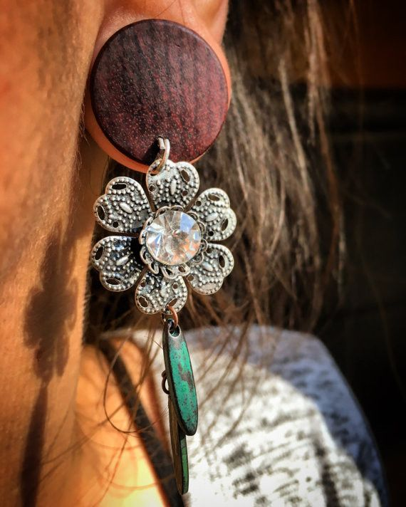 Elegant Filigree u Diamond Flower Dangles for Stretched Ears Available as Plug or Tunnels Sizes g mm through