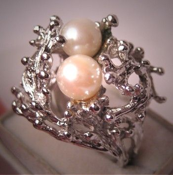 Retro Vintage Pearl Ring Ornate Sterling with Rhodium Engagement Ring - ETSY