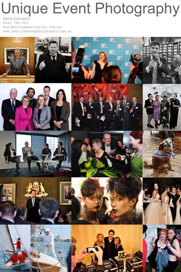 Flyer for Unique Event Photography in Sydney showing a selection of Event photographs and portraits from Corporate events to Marketing and PR and special occasions. Photographed by Kent Johnson for Unique Event Photography in Sydney.