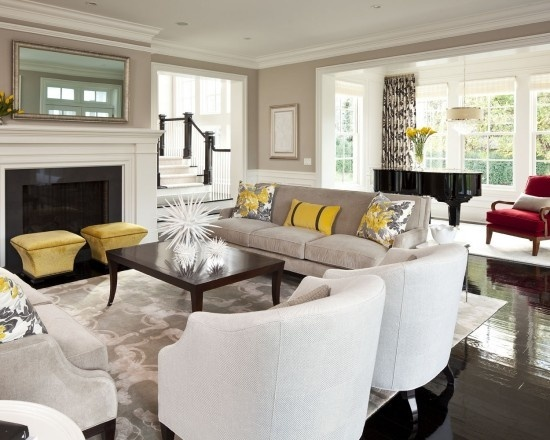 Grey And Yellow Livingroom Design, Pictures, Remodel, Decor and Ideas