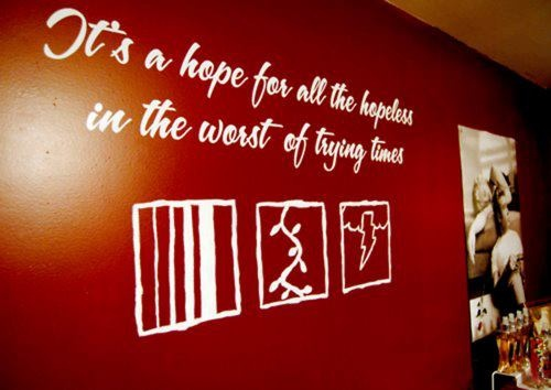 It's a hope for all the hopeless in the worst of trying times - Jonas Brothers. Lyrics on wall