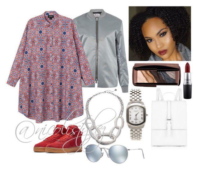 """Rah."" by nicolistylez on Polyvore featuring Meli Melo, Acne Studios, NIKE, Monki, The Sak, Rolex, Hourglass Cosmetics, MAC Cosmetics, Ray-Ban and women's clothing"