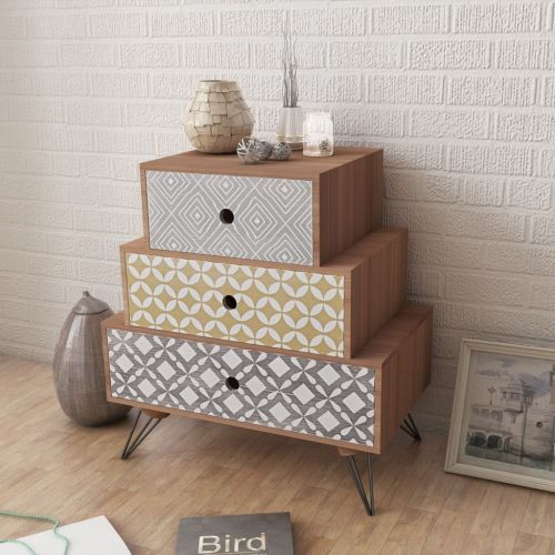 Buy best brown Bedside table with three drawers brown from LovDock.com. Buy affordable and quality Storage Cabinets online, various discounts are waiting for you