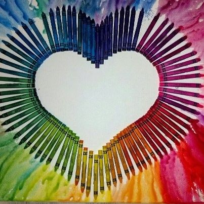 melted crayon canvas | Melted crayon art! Hot glue crayons on the canvas and take your blue ...