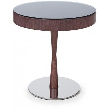 Modern Round Wenge Side Table With Swivel Glass Top And