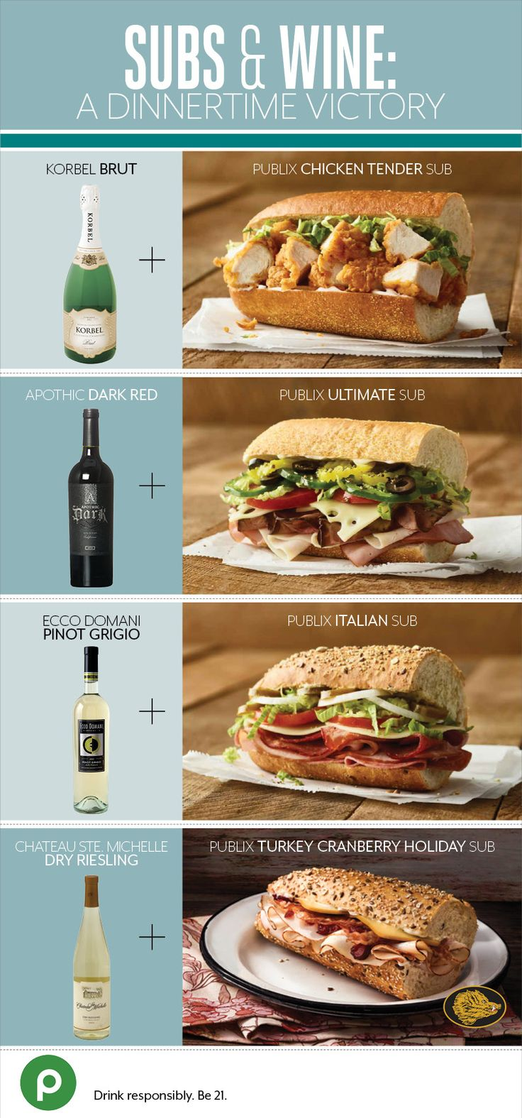 Whether for dinner tonight, or a game day gathering, grab some Publix Deli subs and hand-picked wines for a casually delicious and crowd-pleasing meal. Try sparkling wine with the Publix Chicken Tender Sub, or refreshing pinot grigio with the hearty Publix Italian Sub. No matter your choice, you're sure to be dinner's most valuable player.