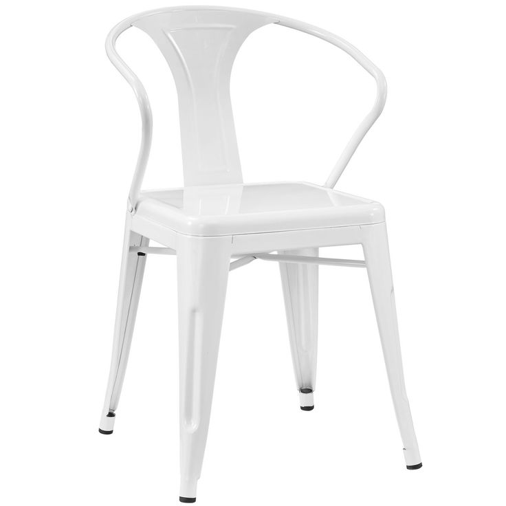 White Metal Arm Chair From Eclectic