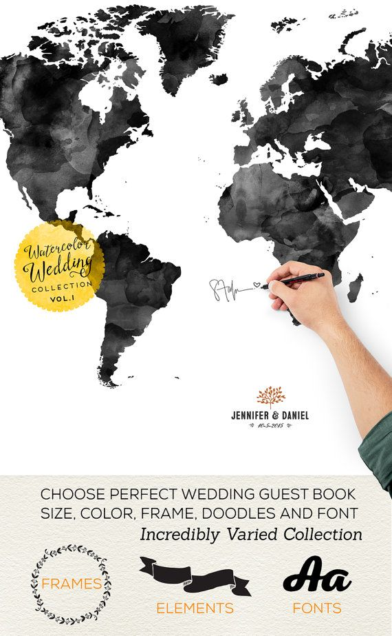 Wedding Guest Book Custom Alternative GuestBook Map by Macanaz