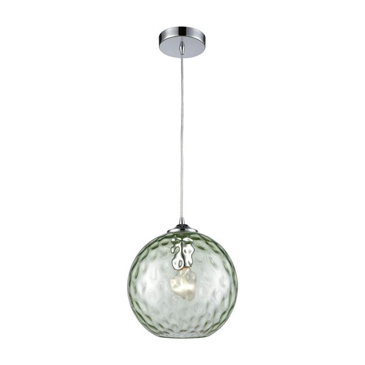 Watersphere 1 Light Pendant In Polished Chrome With Light Green Hammered Glass - Includes Recessed Lighting Kit