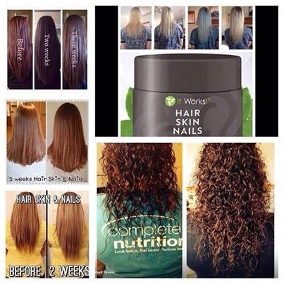 Amazing product results! get It Works hair skin&nails for $33 as a loyal customer! www.thatcrazyitwrap.myitworks.com