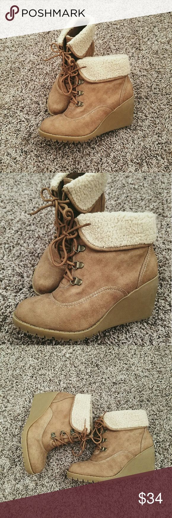 Suede Wedge Work Boots Worn once.  Excellent condition. Timberland style with a wedge heel. Mudd Shoes Ankle Boots & Booties