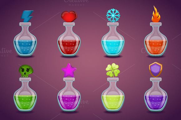 Set bottles with different potions by RybakovaAnn on @creativemarket