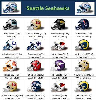 Seahawks Schedule 2013 2014 | SimonOnSports: 2013 Seattle Seahawks Helmet Schedule