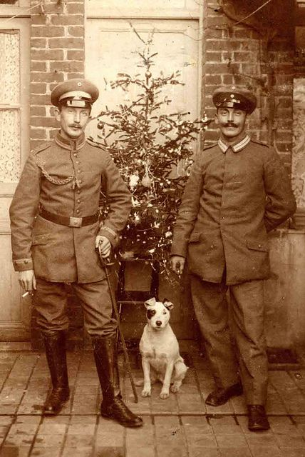 World War I soldiers and dog.