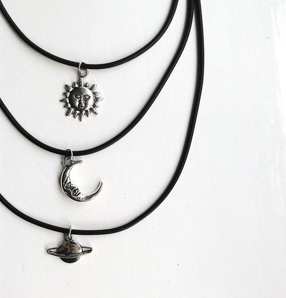 Handmade choker charm necklace -Choice of three charms: sun/ moon/ planet  -Silver tone charm on a black cord necklace  -Finished with attention
