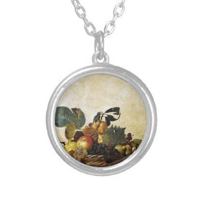Caravaggio - Basket of Fruit - Classic Artwork Silver Plated Necklace - jewelry jewellery unique special diy gift present