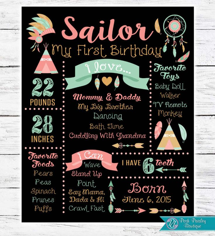 First Birthday Chalkboard Sign Poster - Girl -  Wild One - Printable - Teepee - Boho - Arrows - Feathers - Floral - Tribal - Tribal Party by PoshPaisleyBoutique on Etsy https://www.etsy.com/listing/503291892/first-birthday-chalkboard-sign-poster
