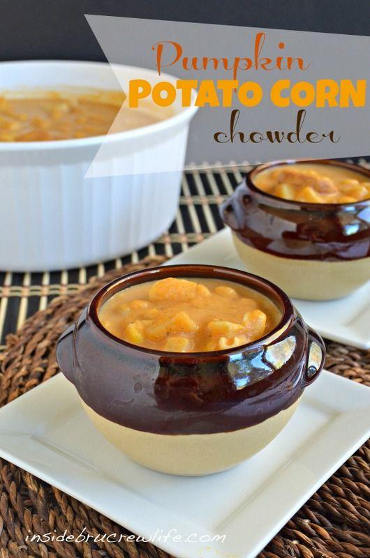 Pumpkin Potato Corn Chowder - potato corn chowder with pumpkin puree and sausage #pumpkin #soup http://www.insidebrucrewlife.com