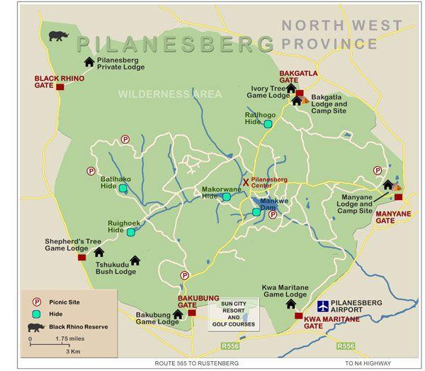 Pilansberg Game Reserve showing gate entrances, bird hides, roads and lodges, South Africa