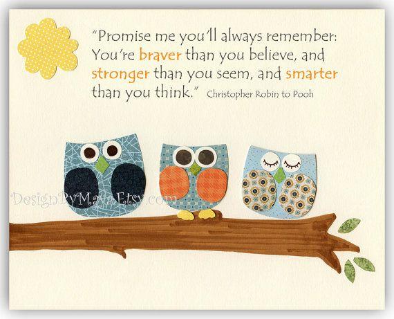 always remember...: Babies, Nursery Wall Art, Baby Boy Rooms, Baby Owl, Room Decor, Kids Room, Quote, Art Prints, Baby Room