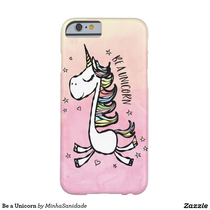 Be a Unicorn Phone Case - Super mega cute illustration of a magical unicorn jumping around hearts and stars in a soft pink and yellow shaded watercolour background. In a inspirational quote, we wish you to Be a Unicorn!