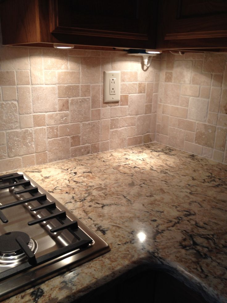 Cambria quartz bradshaw with tumbled stone backsplash Backsplash ideas quartz countertops