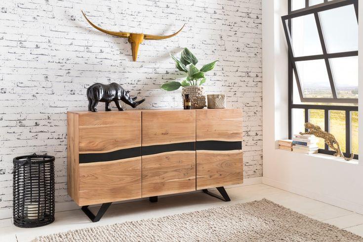 Wohnling Sideboard Satara WL5194 aus Akazie Massivholz #Wohnzimmer
