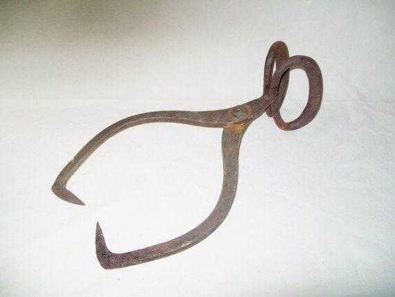 Vintage Ice Tongs Cast Iron Primitive Rusty by NanNasThings