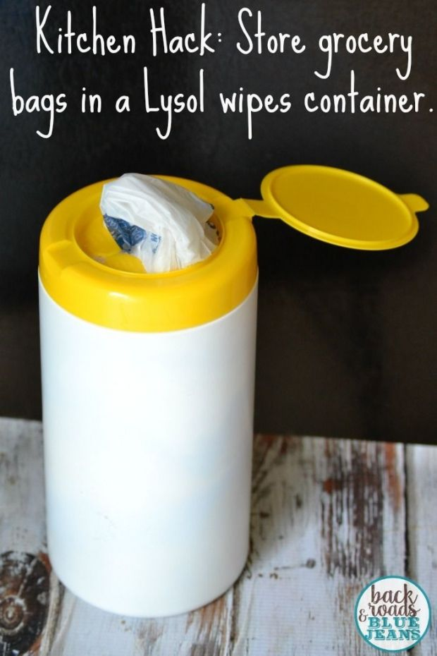 Store grocery bags in an empty Lysol wipes container.