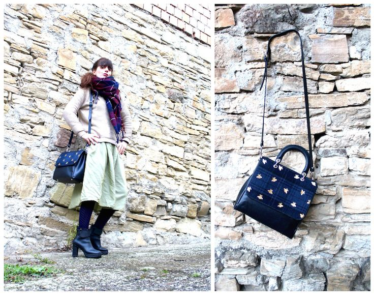 Tartan details  #tartan #ootd #fashion #skirt #bags #vintage #winter  #fashionblogger #scarf #madeinitaly