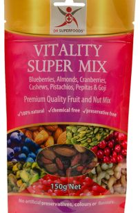 Vitality Super Mix : Wild blueberries / Almonds / Pepitas / Cranberries / Pistachios / Goji berries / Cashews.  100% Natural, Chemical free and Preservative free.