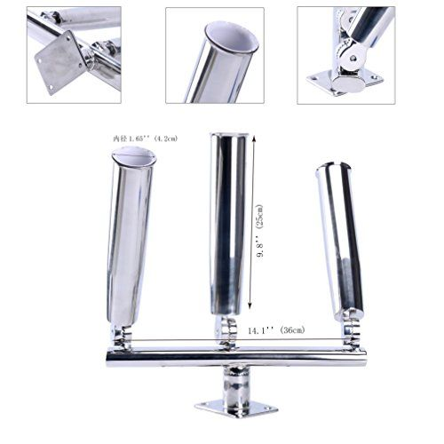 Amarine-made 3 Tube Silver Highly Polished Stainless Steel Trident Outrigger Stylish Rod Holder - Triple Rod Holder  Kite Fishing Mount 3-rod Holder - Camo Guys