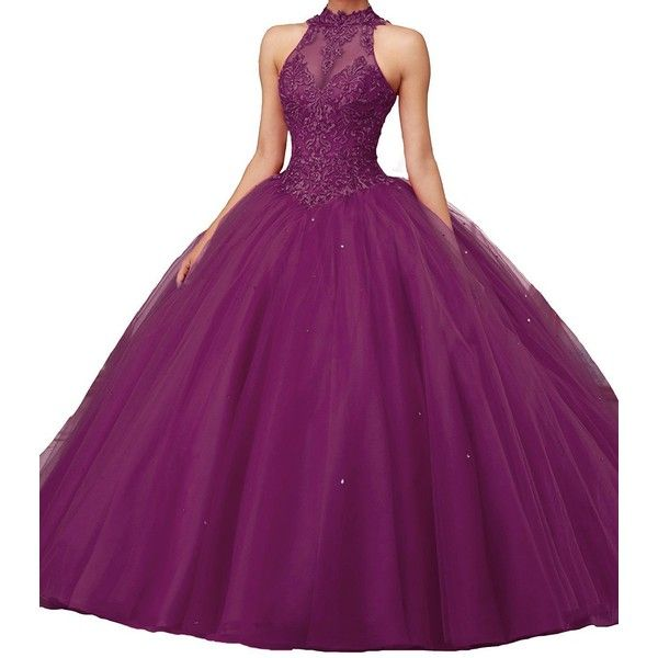 Lisa High Neck Puffy Ombre Prom Dresses Lace Ball Gown Quinceanera... ($108) ❤ liked on Polyvore featuring dresses, gowns, purple evening dress, lace gown, purple quinceanera dresses, quinceanera dresses and purple lace dress