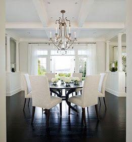 Black Hardwood Grey Walls Dinning Room