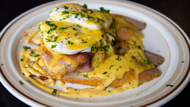 Eggs benedict with bacon at Wellington's Preservatorium Cafe and Cannery.