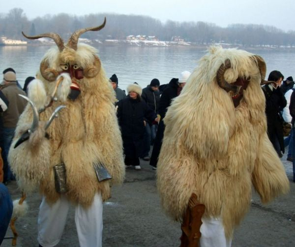 These suits may seem a bit odd, but they serve a purpose in Hungary. During Busójárás, these fur suits and frightening masks are worn to scare away winter!