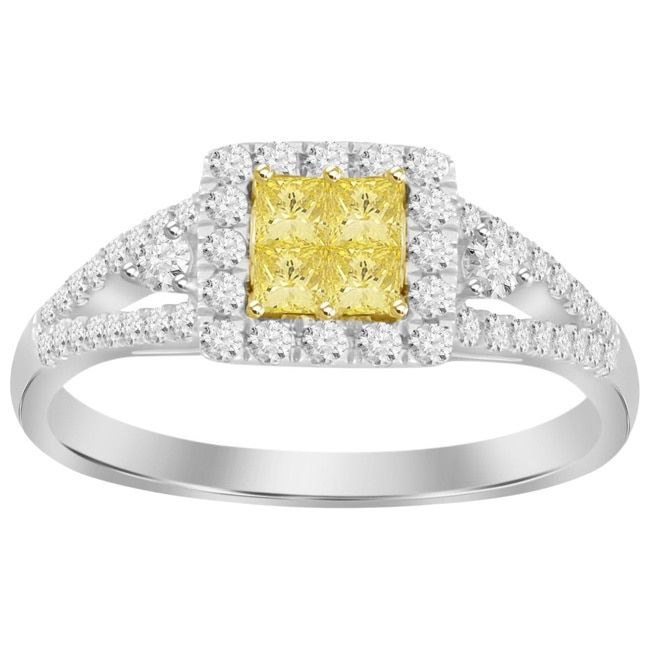 14k Two-tone Gold 1/2ct TDW Canary Yellow Diamond Ring