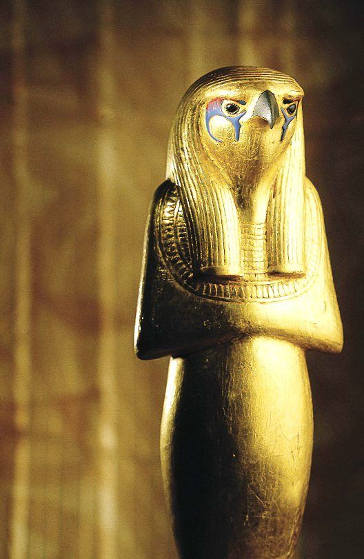 Gold Horus, one of the oldest and most significant deities in ancient Egyptian religion, who was worshipped from at least the late Predynastic period through to Greco-Roman times. It was found in the treasure of Pharaoh King Tout Ankh Amoun.
