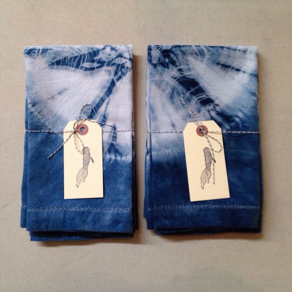 Natural Indigo Shibori Hand Dyed Dinner by SquidWhaleDesigns, $28.00
