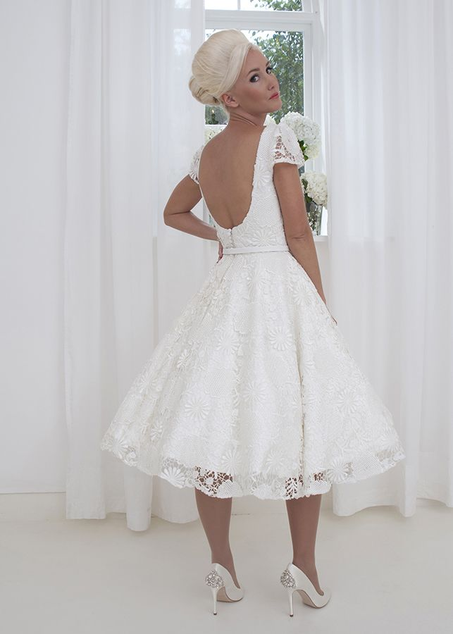 Rosemary Charming And Cute Guipure Lace Tea Length Wedding Dress With Short Puffed Sleeves
