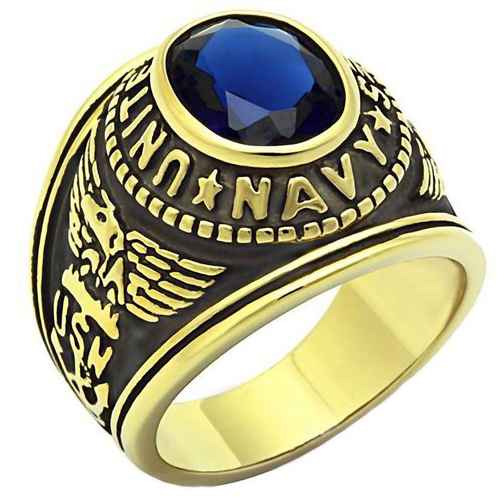 Wedding Ring With Navy Emblem